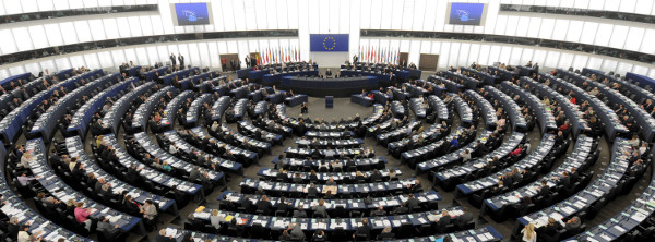 Hemicycle at the European Parliament building Louise Weiss in Strasbourg